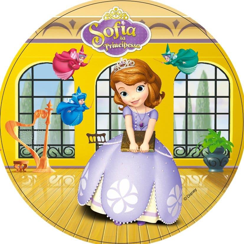 Disque azyme princesse Sofia fond jaune